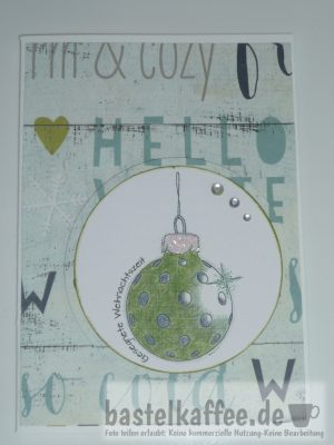 christmas card craft with christmas bauble