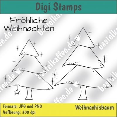 digi stamps set merry christmas tree