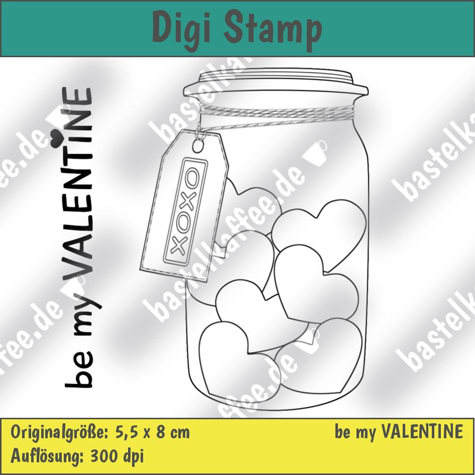 digi stamps set, valentine, jar with hearts