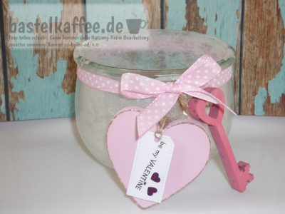 decorated jar with salt crystals for vatentine's day