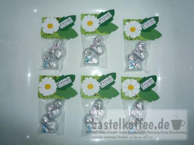 Kleines Präsent zu Ostern mit digitalem Textstempel und Schokolade