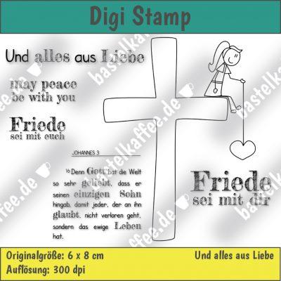Digitales Stempelset, Mädchen sitzt auf einem Kreuz und hält ein Herz an einem Faden in der Hand, Bibelvers Johannes 3