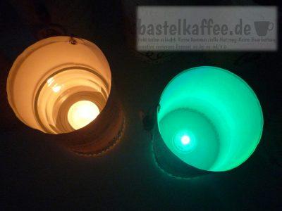 DIY Windlichter mit Kerze oder LED Teelicht mit Farbwechsel