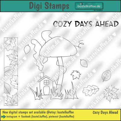 Digitales Set mit 4 Stempeln zum Colorieren. Ein Pilz mit einem kleinen Haus darunter. Fallende Herbstblätter. Text: Cozy days ahead.