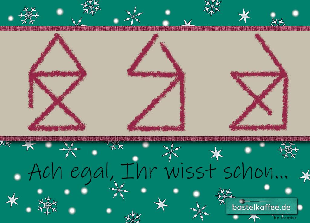 """E-Card zum Nikolaus. Motiv: Drei unfertig gezeichnete Häuser vom Nikolaus. Text: """"Ach egal, Ihr wisst schon."""""""
