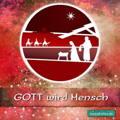 """Digitale Illustration. Krippenszene. Text: """"Gott wird Mensch"""""""