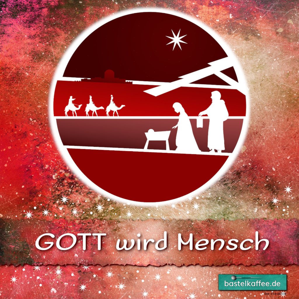 "Digitale Illustration. Krippenszene. Text: ""Gott wird Mensch"""