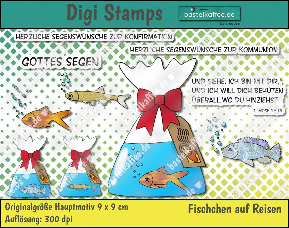 """Digitale Stempel """"Fischchen auf Reisen"""". Jeweils ein Goldfisch, ein Buntbarsch und ein Moderlieschen alleine in einer Tüte mit Wasser. Die Beutel sind mit einer roten Schleife zugebunden. An den Tüten hängen Tags mit einer Briefmarke und einem Poststempel. Texte: """"Und siehe, ich bin mit dir, und ich will dich behüten überall, wo du hinziehst. 1. Mose 28,15"""", """"Gottes Segen"""", Herzliche Segenswünsche zur Konfirmation"""", """"Herzliche Segenswünsche zur Kommunion"""". Von Bastelkaffee"""