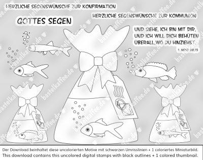 """Digitale Stempel """"Fischchen auf Reisen"""". Jeweils ein Goldfisch, ein Buntbarsch und ein Moderlieschen alleine in einer Tüte mit Wasser. Die Beutel sind mit einer Schleife zugebunden. An den Tüten hängen Tags mit einer Briefmarke und einem Poststempel. Texte: """"Und siehe, ich bin mit dir, und ich will dich behüten überall, wo du hinziehst. 1. Mose 28,15"""", """"Gottes Segen"""", Herzliche Segenswünsche zur Konfirmation"""", """"Herzliche Segenswünsche zur Kommunion"""". Von Bastelkaffee"""