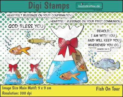 """Digital Stamps """"Fish on tour"""". A goldfish, a tilapia and a sunbleak in a bag with water. The bag is bind by a red ribbon. There is a tag hanging with a postage stamp and a postmark. Sayings: """"Heartfelt blessings on your confirmation"""", """"Heartfelt blessings on your first communion"""", """"God bless you"""", """"Behold, i am with you and will keep you wherever you go. Genesis 28, 15"""". By Bastelkaffee"""