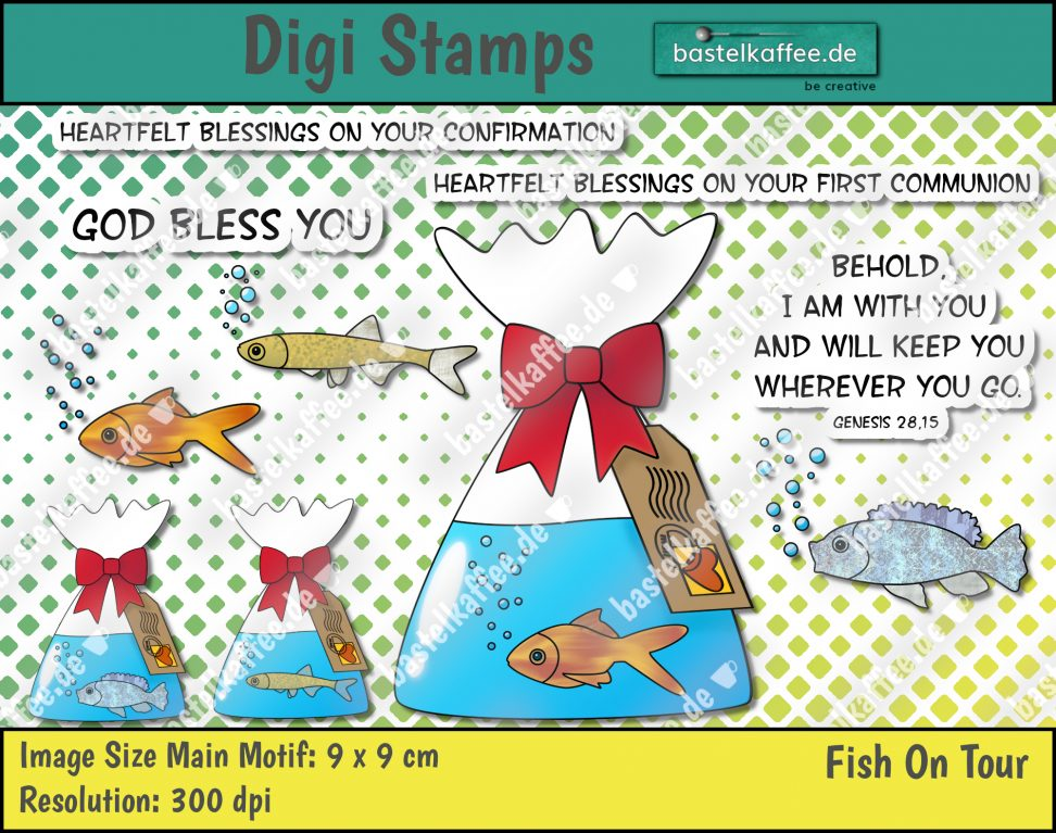 "Digital Stamps ""Fish on tour"". A goldfish, a tilapia and a sunbleak in a bag with water. The bag is bind by a red ribbon. There is a tag hanging with a postage stamp and a postmark. Sayings: ""Heartfelt blessings on your confirmation"", ""Heartfelt blessings on your first communion"", ""God bless you"", ""Behold, i am with you and will keep you wherever you go. Genesis 28, 15"". By Bastelkaffee"