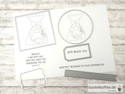 Printed digital stamps for a confirmationgift. Fish in a bag with water an sayings: