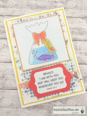 A confirmationcard crafted with digital stamps. Fish in bag with water and saying: