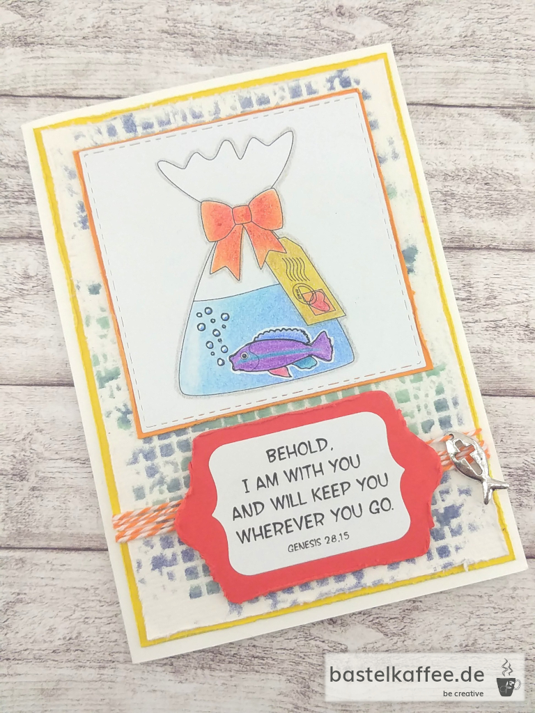 "A confirmationcard crafted with digital stamps. Fish in bag with water and saying: ""Behold, I am with you and will keep you wherever you go. Genesis 28, 15"". And an embossed Cardstock-Cross with an orange heart."