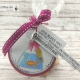 """Gold Fischli crackers giftbag. Tag with a colored digital stamp of an goldfish in a bag with water. Sayings: """"God bless you"""" and """"Heartfelt blessings on your confirmation""""."""