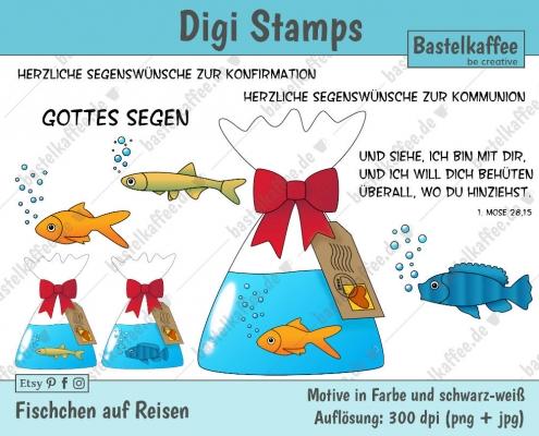 Digitale Stempel. Bunt. Fischchen in einem Beutel mit Wasser. Motiv zur Konfirmation.
