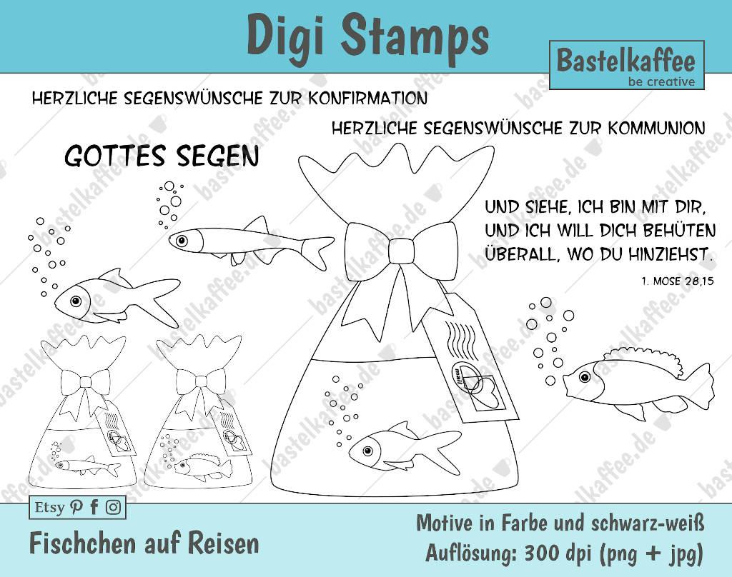 Digitale Stempel Bunt und schwarz-weiß. Fischchen in einem Beutel mit Wasser. Motiv zur Konfirmation.