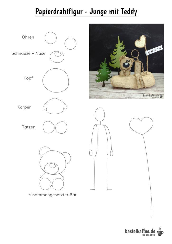 Papierdrahtfiguren Vorlage kostenlos. Ein Junge und sein Teddy.