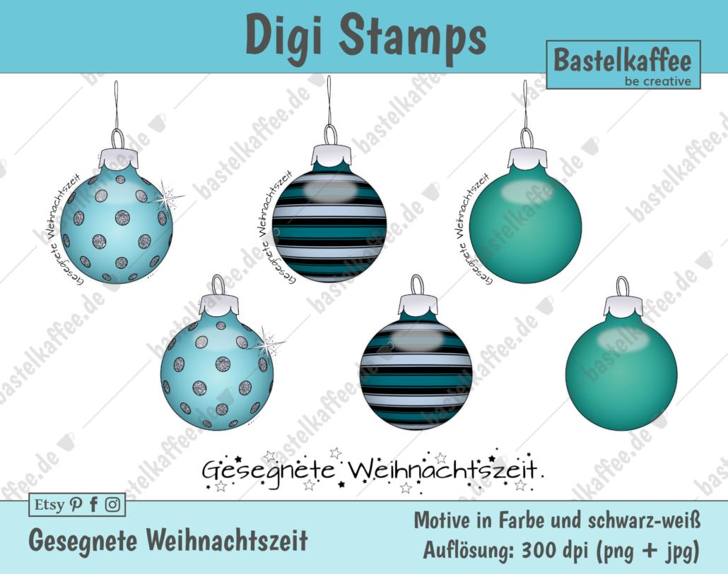 """Digi Stamps Set """"Gesegnete Weihnachtszeit"""", farbig"""