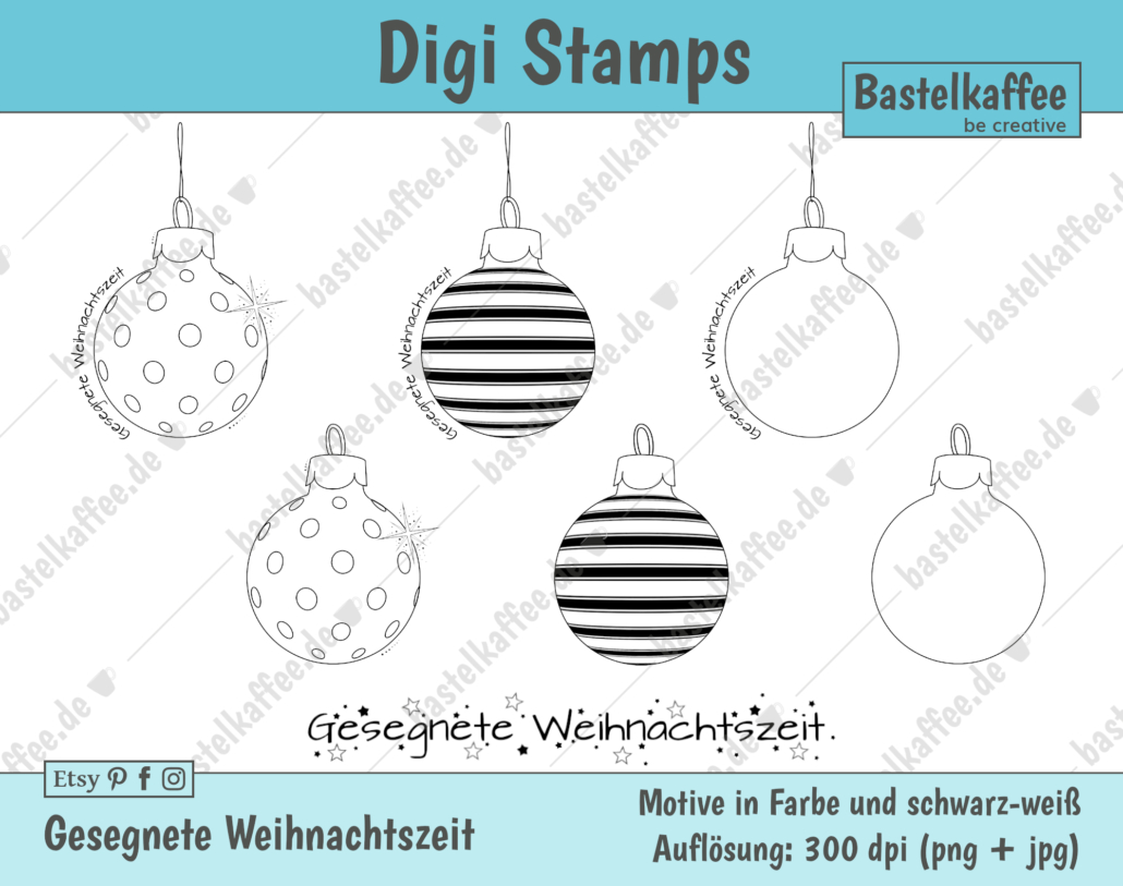 """Digi Stamps Set """"Gesegnete Weihnachtszeit"""", schwarz-weiß"""