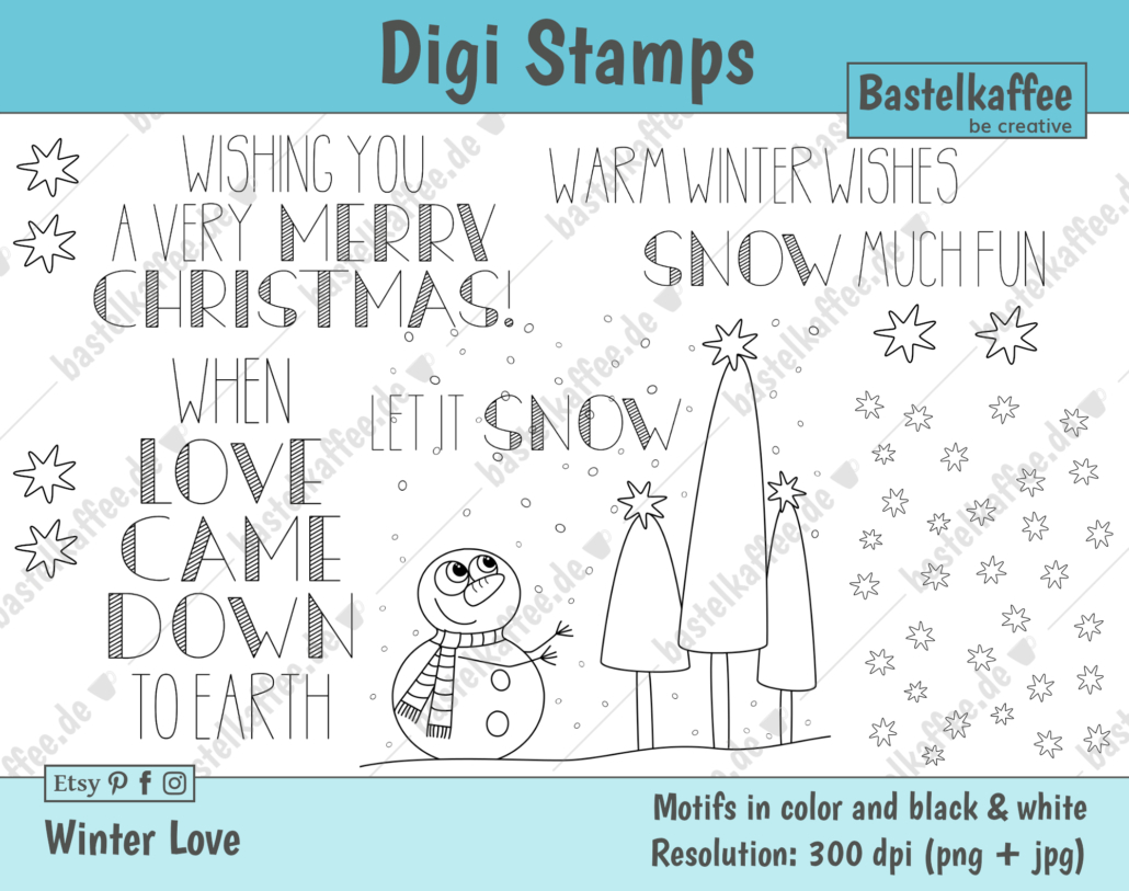 """Digi Stamps Set """"Winter Love"""", schwarz-weiß"""