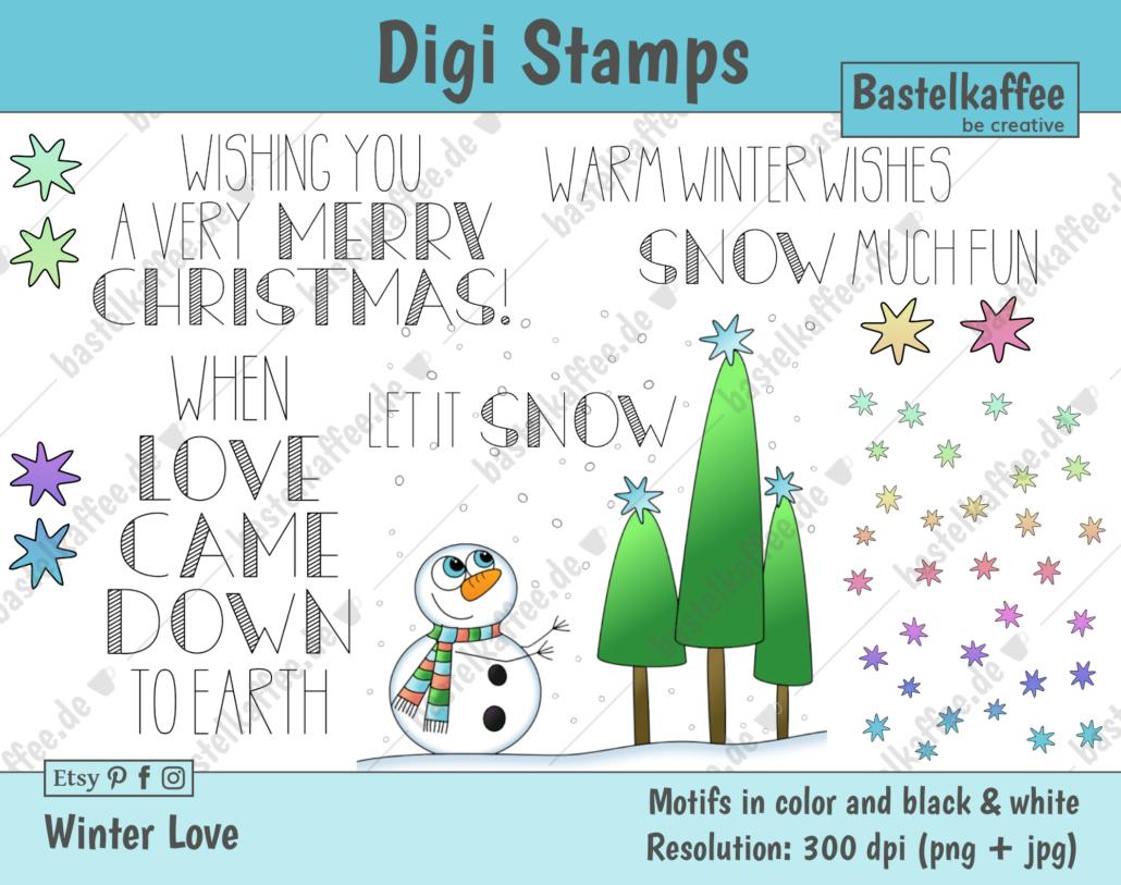 "Digi Stamps Set ""Winter Love"", farbig"