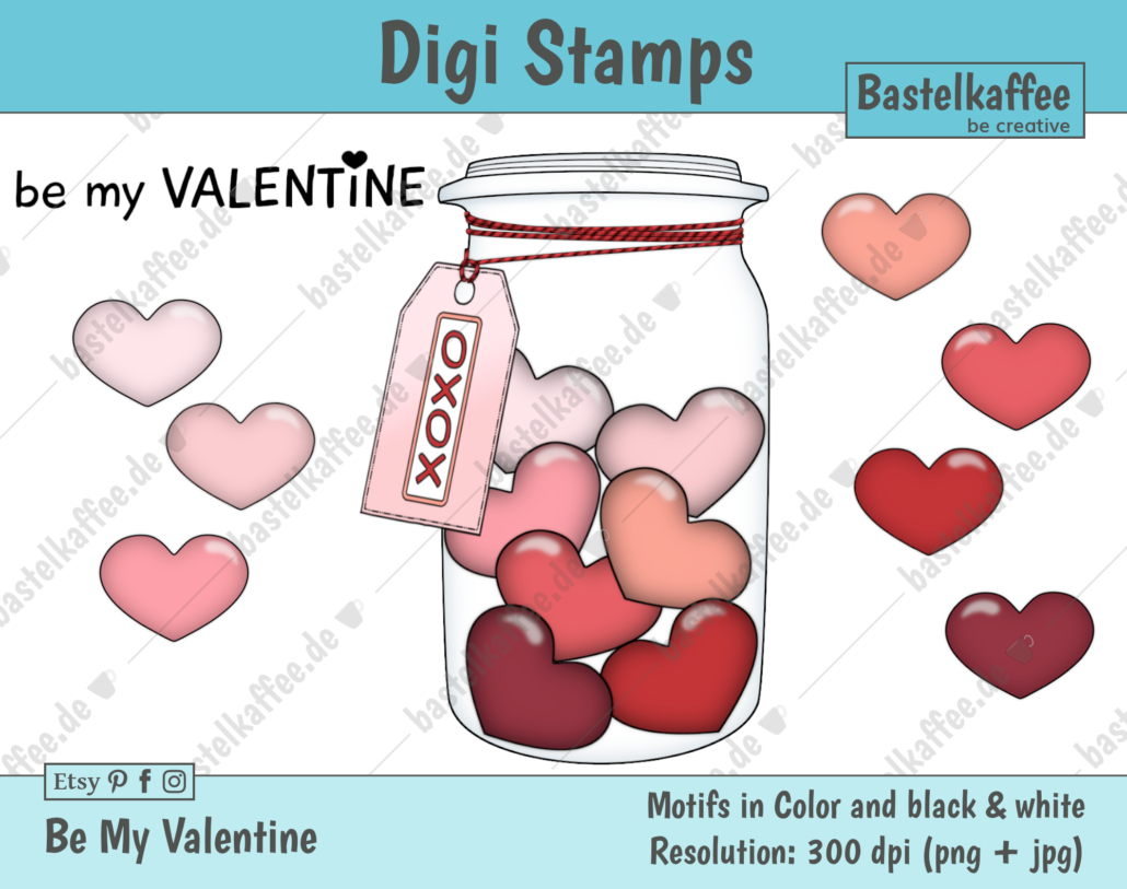 "Digi Stamps Set ""Be my Valentine"" colored"