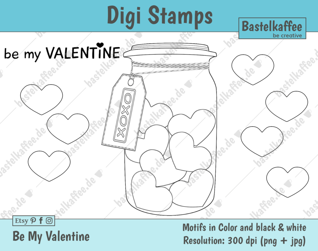 "Digi Stamps Set ""Be my Valentine"", black and white"