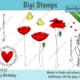 Digi Stamps Set Geburtstagsgrüße - Digitales Stempelset Mohnblüten. Bunt.