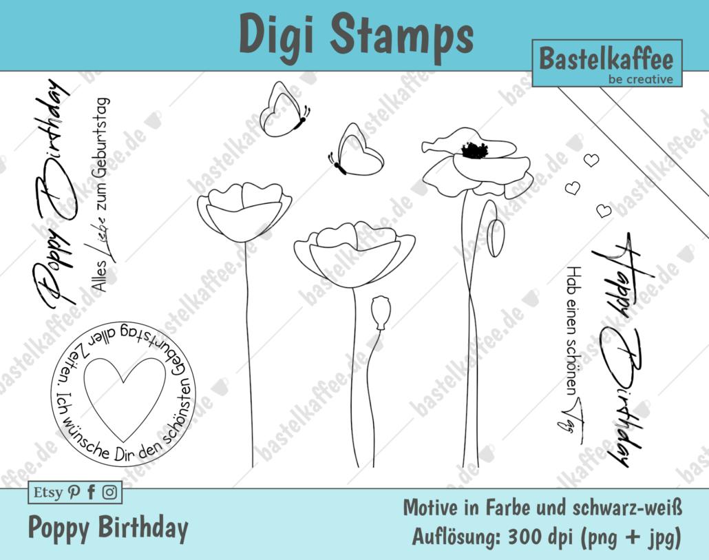 Digi Stamps Set Geburtstagsgrüße - Digitales Stempelset Mohnblüten. Schwarz-weiß.
