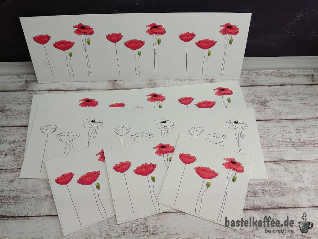 Mohnblüten Digi Stamps, koloriert mit Alkoholmarkern