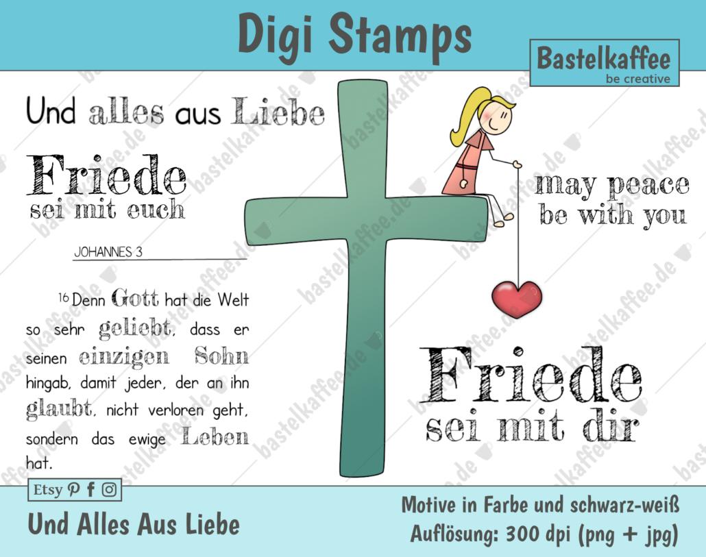 """Digi Stamps Set """"Und alles aus Liebe"""", bunt."""