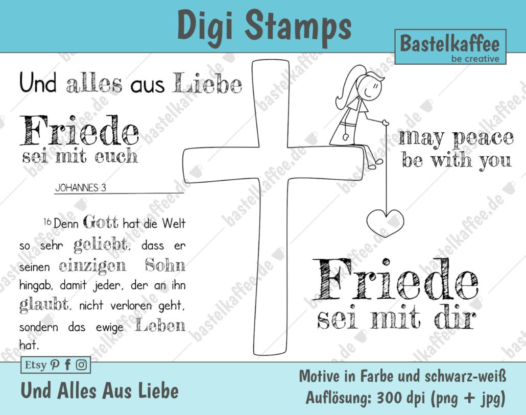 """Digi Stamps Set """"Und alles aus Liebe"""", schwarz-weiß."""