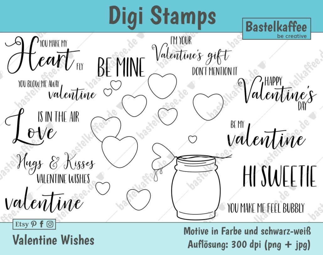 "Digi Stamps Set ""Valentine Wishes"", black and white"