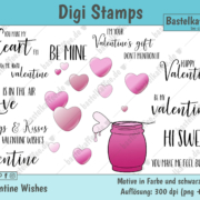 "Digi Stamps Set ""Valentine Wishes"", colored"