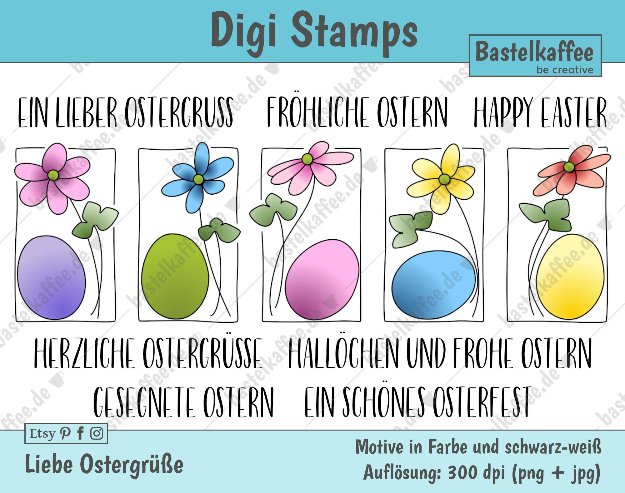 "Digitales Stempelset ""Liebe Ostergrüße"" bunt"