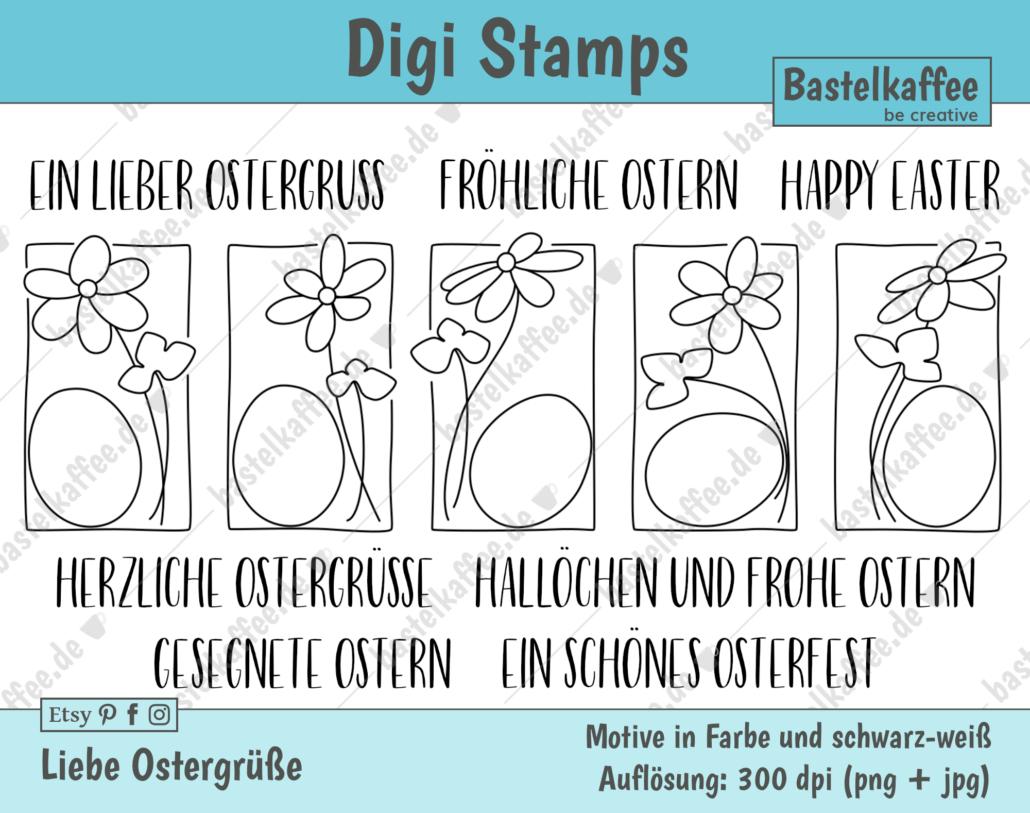 """Digitales Stempelset """"Liebe Ostergrüße"""" schwarz-weiß"""