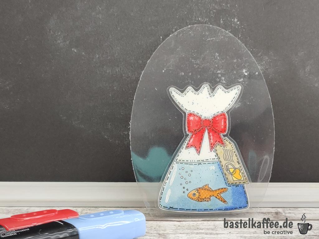 DIY Digit Stamp Fisch für Seifenflasche